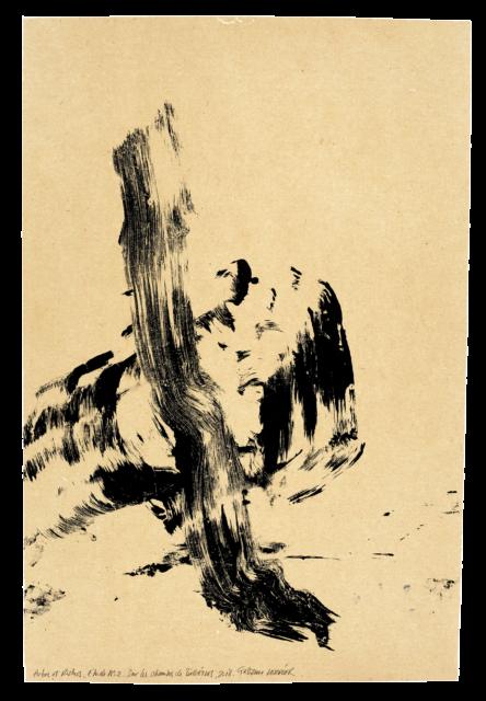 Arbre et rocher, sur les chemins de Bibémus, étude n°02