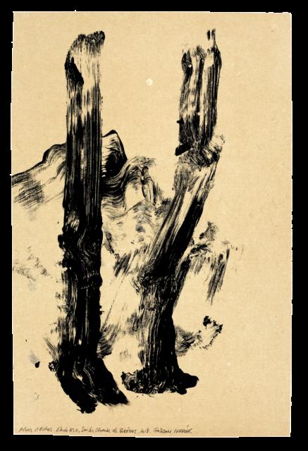 Arbre et rocher, sur les chemins de Bibémus, étude n°11